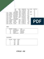 RDBMS Lab Cycle 2