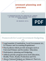 An overview of local government planning and budgeting cycles