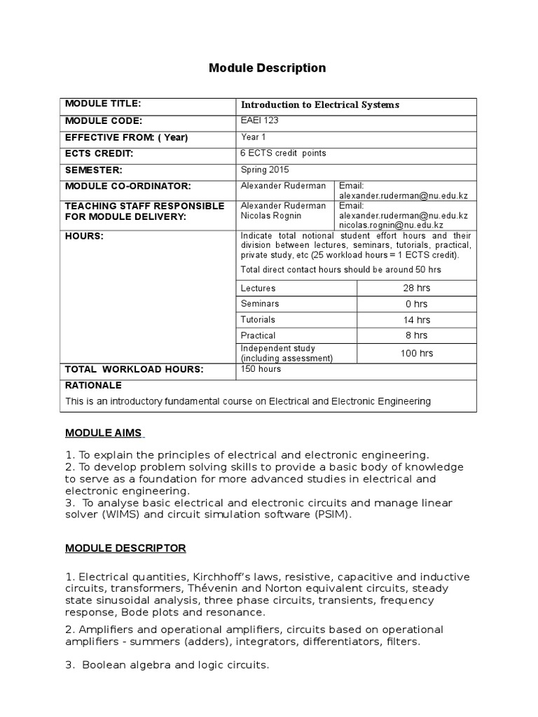 Module Descriptor Syllabus Introduction To Electrical Systemsdoc Circuitsimulationsoftware Network Electronics