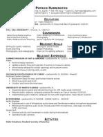 PatrickHarrington Resume 1-2015