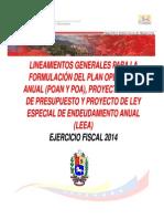 Lineamientos Del Poanypoa Proyecto de Ley de Presupuesto Leea2014
