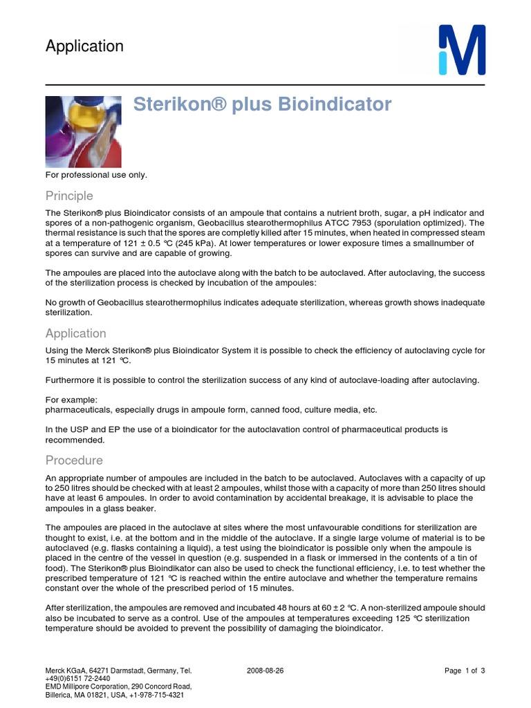 Sterikon® plus Bioindicator: Application