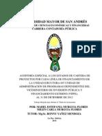 Auditoria Especial a Los Estados de Cartera de Proyectos