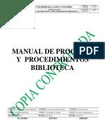 Manual Procesos Procedimientos Biblioteca