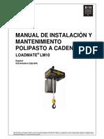 Manual de Instalación y Mantenimiento Polipasto a Cadena LoadMate LM10