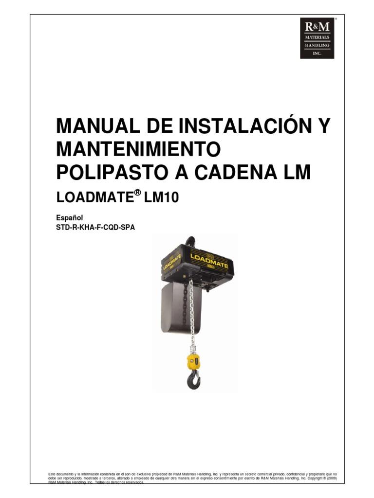 Manual de Instalación y Mantenimiento Polipasto a Cadena
