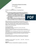 Course Description Polymer Processing