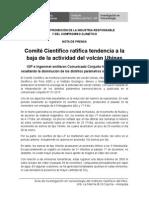 Nota de Prensa - 07 de Enero - Comité Científico Ratifica Tendencia a La Baja de La Actividad Del Volcán Ubinas