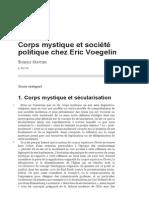 Corps Mystique Et Société Politique Chez Eric Voegelin