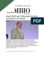 09-02-2015 Diario Matutino Cambio de Puebla - Busca RMV Que Volkswagen Invierta Mil Mdd en Otra Planta