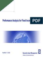 Performance Analysis for Fixed Income Portfolios