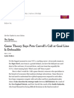 Game Theory Says Pete Carroll's Call at Goal Line is Defensible - NYTimes
