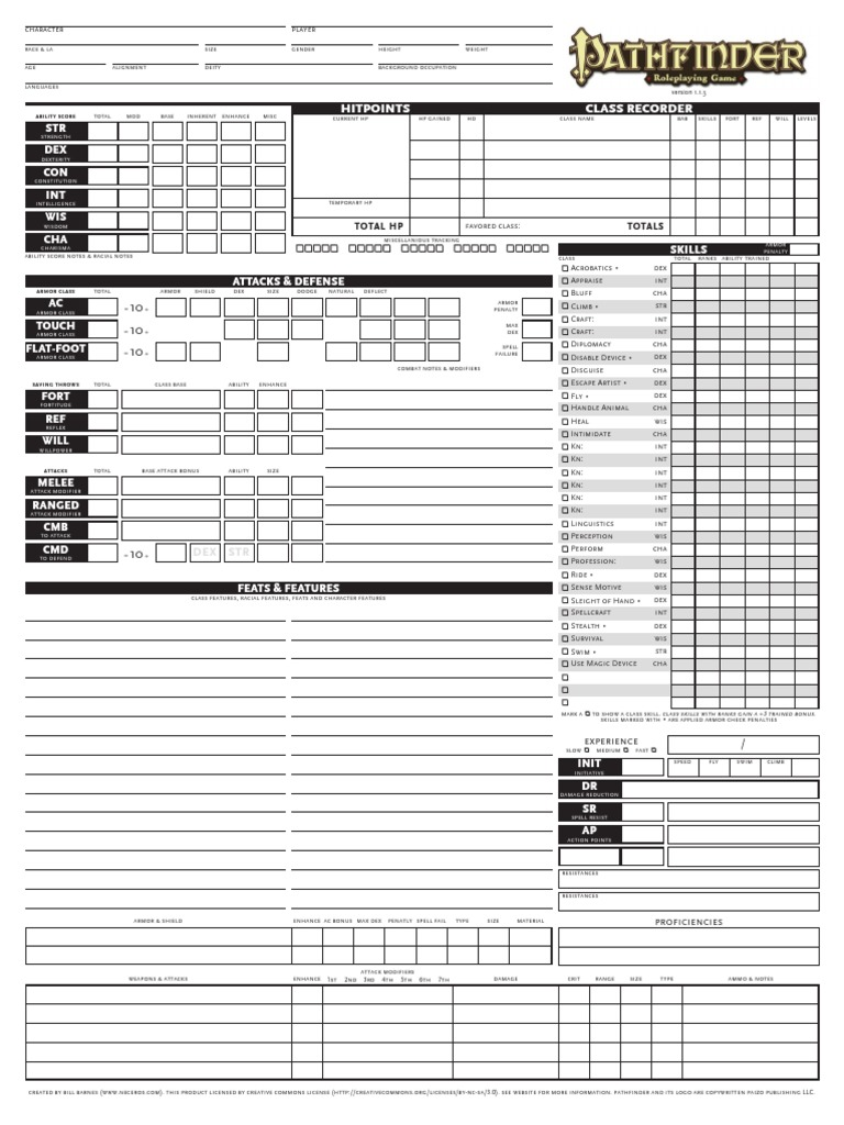Pathfinder Character Portfolio | Gaming | Role Playing Games