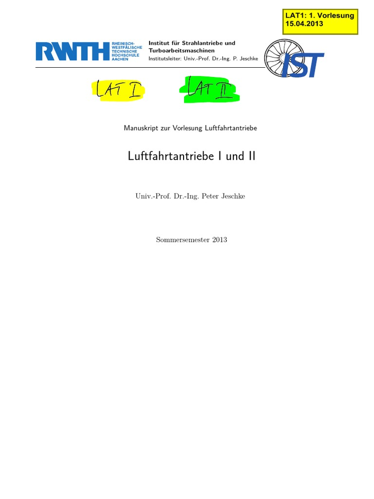Luftantriebe I & II. Aircraft propulsion I and II