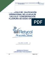 Protocolo de Calificación Operacional de La Hoja de Cálculo Formato de Validación Rety