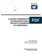 Algunas Consideraciones de Seguridad Para El Proyecto Geométrico de Carreteras IMT PT 217
