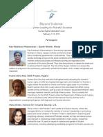 Beyond Violence Forum Participants