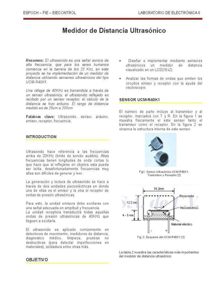 Circuito Emisor Receptor : Sensor ultrasonico emisor receptor medicion de distancia