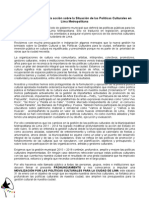 Pronunciamiento Situación de las Políticas Culturales en Lima Metropolitana