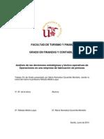 Análisis de las decisiones estratégicas y táctico-operativas de Operaciones en una empresa de fabricación de pinturas