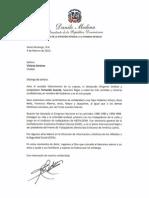 Carta de Condolencias del Presidente Danilo Medina por Fallecimiento de Fernando Guante