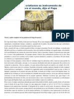Homilía Conversión de San Pablo 25-1-15 La Unidad de Los Cristianos Es Instrumento de Reconciliación Para El Mundo