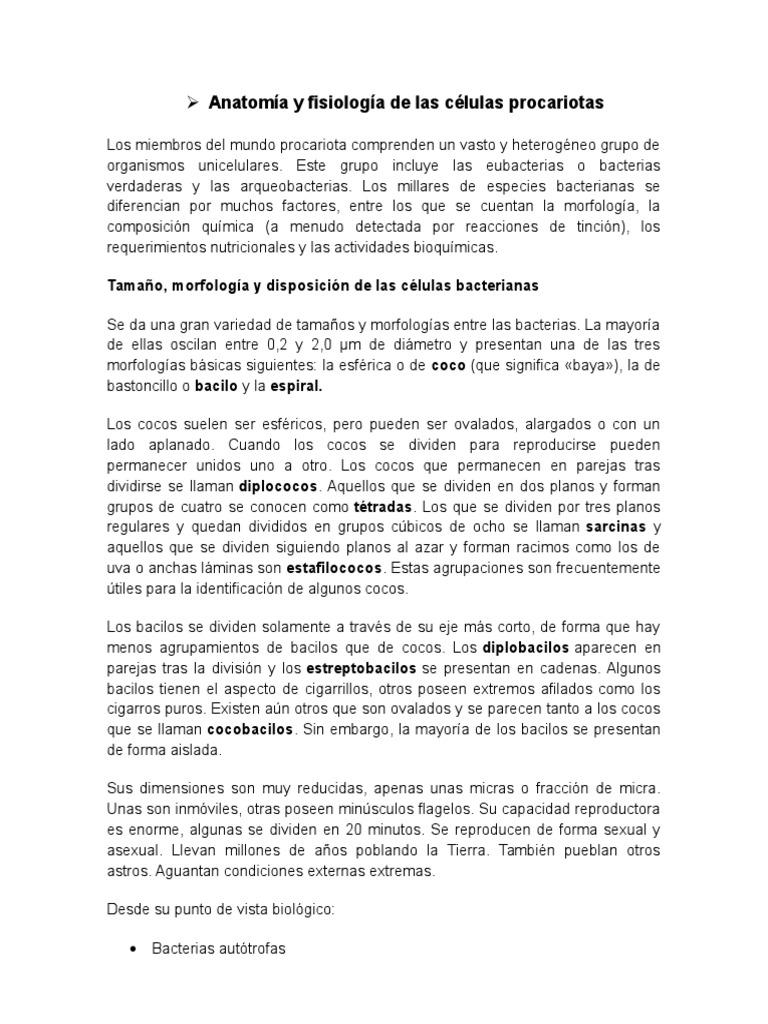 Anatomía y Fisiología de Las Células Procariotas