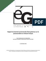 Rapport Du Sommet Provincial Des États Généraux Sur Le Postsecondaire en Ontario Français