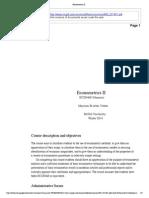 Econometrics II course outline