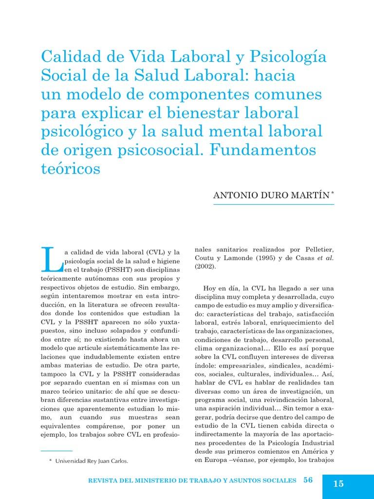 Calidad de Vida Laboral y Psicologia Social de La Salud Laboral