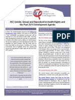 HIV, Gender, Sexual and Reproductive Health Rights and the Post 2015 Development Agenda