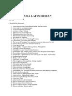 Daftar Nama Latin Hewan