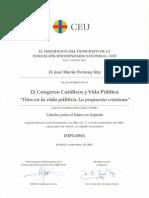 2007_11_16 Diploma Participación Comunicante IX Congreso Católicos y Vida Pública. Límites Para El Islam en España.