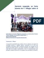 Feminista Libertaria responde, en Carta Abierta, a columna de F. Villegas sobre el aborto.