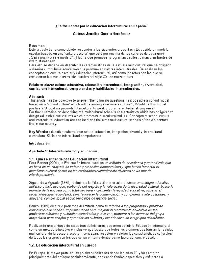 Es posible la educación intercultural en España?