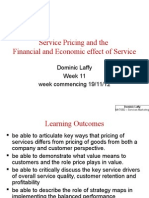 Service Pricing and the Financial and Economic effect of Service