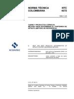 NTC 4572 Carne y Productos Cárnicos. Método Para Determinar El Contenido de Nitrato (Metodo de Referencia)