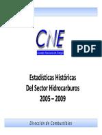 Estadisticas Historicas HIDROCARBUROS 2005-2009