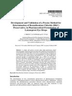 Method for Determination of Benzalkonium