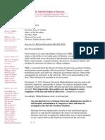 FIRE Letter to Clemson University President James F. Barker, January 15, 2010 FINAL