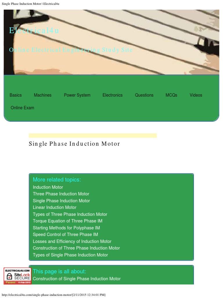 Single Phase Induction Motor _ Electrical4u | Electric Motor