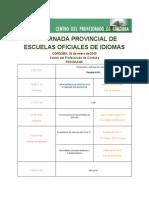 Programa VII Jornada provincial de Escuelas Oficiales de Idiomas de Córdoba