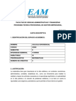 Carta Descriptiva Calculo Diferencial