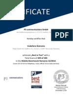Certificate p3 Pbm Romania Vfro Best in Test