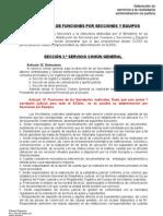 propuesta de CCOO sobre distribución de funciones por Secciones