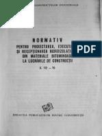 C 112 1970 Normativ Pentru Proiectarea Executarea Si Receptionarea Hidroizolatiilor