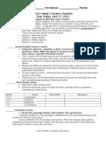 u6w2 center checklist