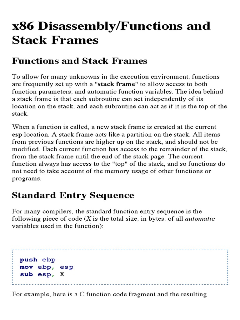 x86 Disassembly:Functions and Stack Frames - Wikibooks, Open Books ...