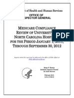 MEDICARE COMPLIANCE REVIEW OF UNIVERSITY OF NORTH CAROLINA HOSPITALS FOR THE PERIOD JANUARY 1, 2011, THROUGH SEPTEMBER 30, 2012