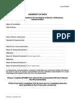 DBA Examiners Report Form